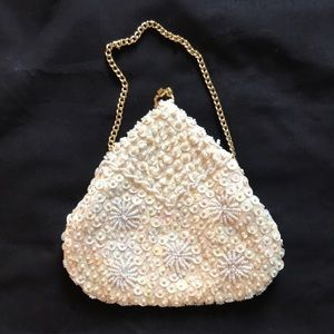 Handbags - Vintage Sequined Mother of Pearl Evening Bag